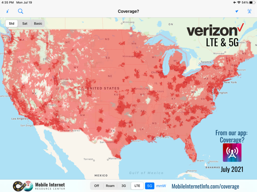 verizon lte 5g coverage july 2021