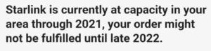 starlink 2022 at capacity