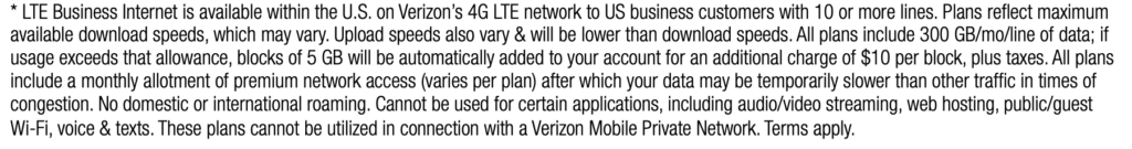 verizon lte business wireless terms