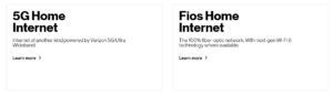 Verizon 5G Home and FIOS services
